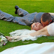 Portrait of happy newlyweds on grass — Stock Photo