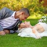 Portrait of happy newlyweds on grass — Stock Photo #5369558