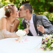 Kiss of the groom and the bride — Stock Photo