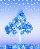 Winter tree from snowflakes — Stock Vector