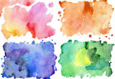 Four watercolor textures — Stock Photo