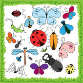 Funny drawn insects — Stock Vector
