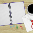 Notebook, cup of coffe on the wooden table — Stock Photo