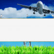 Advertising concept. Blank billboard and landing jet. - Stock Photo