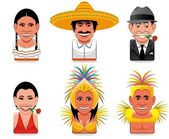 Avatar world icons(mexican,argentinian,brazilian) — Stock Photo