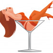 Cartoon pinup in wineglass — Stock Photo