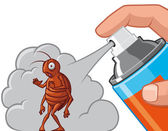 Spraying insecticide on cockroach — Stock Photo