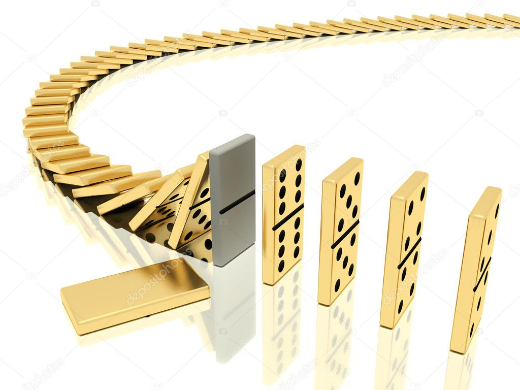 On a image  is shown golden domino bones on a white background  in action of  dominoes effect which was halted with help of particular domino bone placed instea  Stock Photo #3941466