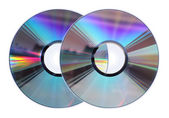 Two CD / DVD disks isolated on White — Zdjęcie stockowe