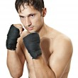 Kickboxer or boxer is in protection position. — Stock Photo #4227004