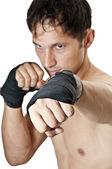 Kick. Kickboxing or Taekwondo — Stock Photo