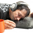 Royalty-Free Stock Photo: Operator sleeping on keyboard