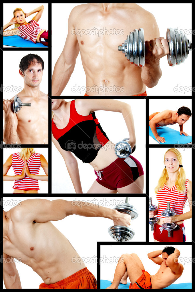 Concept. Men and women are engaged in fitness with dumbbells, on a rug. Train, work out — Stock Photo #4239828