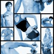 collage. fitnesscentrum — Stockfoto #4253322