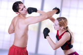 Martial art. self-defense woman training. — Stock Photo