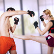 Woman fighter - front kick. self-defense - Stock Photo