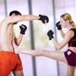 Woman fighter - front kick. self-defense — Stock Photo