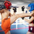 Two person training kickboxing on ring. Martial art - Zdjęcie stockowe