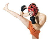 Kikboxing training. High side kick. Martial art — Stock Photo