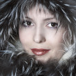 Fashion woman in fur smiling — Stock Photo