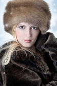 Fashion woman in fur — Stock Photo