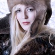 Fashionable woman in fur clothes — Stok fotoğraf