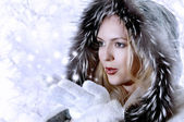 Fashion Woman Blowing Snow — Stock Photo