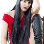 豊かな健康の長い黒い髪を持つ女性 — ストック写真 #4863851
