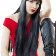 Stock Photo: Womwith luxuriant healthy long black hair