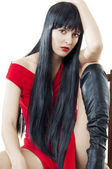 Woman with luxuriant healthy long black hair — Stock Photo