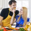 Love. Portrait of happy couple in kitchen. — Stock Photo #5165180