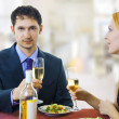 Couple at restaurant on dinner party. — Stock Photo