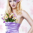 Stock Photo: Portrait of beautiful womwith spring flowers