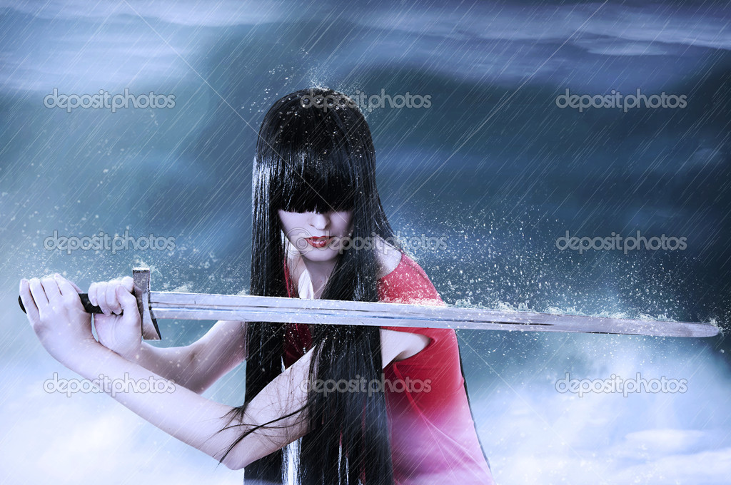 Fashion fantasy portrait of young pretty brunette woman fighter with sword in mist  Stock Photo #5355425