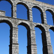 The famous Roman Aqueduct in Segovia in Spain. — Stock Photo