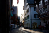 Street of old european town in evening light — Stock Photo
