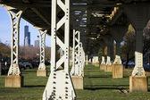 Legs of the L train bridge — Stock Photo