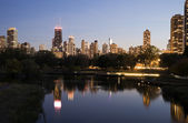 Chicago skyline from Lincoln Park — Stock Photo