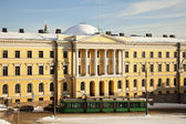 Tramway in front of Helsinki University Museum — Stock Photo