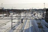 Järnväg spår i centrala helsingfors — Stockfoto