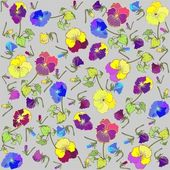 Retro floral background. Pansies. — Stock Vector