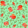 Floral background. Poppy. - Stock Vector