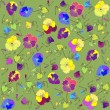 Stock Vector: Retro floral background. Pansies.
