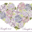 Decorative heart. Hydrangea. — Stock Vector