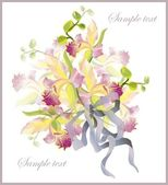 Greeting card with a bouquet of orchids. — Stock Vector