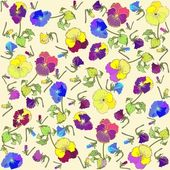 Retro floral background. Pansies. — Stok Vektör