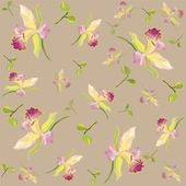 Retro floral background. Orchids. — Stok Vektör