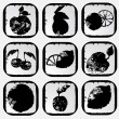 Icon set of various fruit and vegetables. — Imagen vectorial