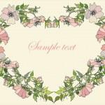 cuore decorativo. rosa selvatica — Vettoriale Stock