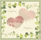 Vintage greeting card with the image of a wild ivy and hearts. — Stok Vektör